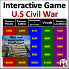 Civil War United States History Game PowerPoint Activity (