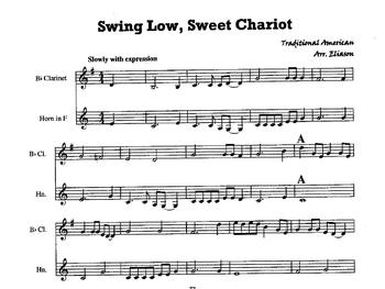 "Clarinet and French horn Duet, ""Swing Low, Sweet Chariot"""