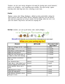 Class Economy Packet- behavior plan