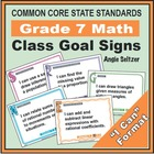 Grade 7 Class Goal Signs Common Core Math Standards