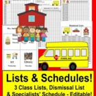Class Lists & Dismissal List & Specialist Schedule