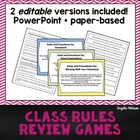 Class Rules Review Games: Fun paper-based &amp; PowerPoint act