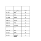 Class Schedule with minutes