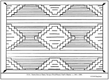 Classic Navajo Chief's Blanket.  Coloring page and lesson
