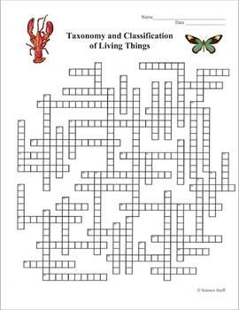 Classification of Living Organisms Crossword Puzzle (Taxonomy)