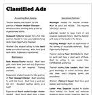 Classified Ads for Classroom Jobs and Student Resume SURFFDOGGY