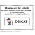 Classroom Bin Labels for toys, manipulatives and centers!