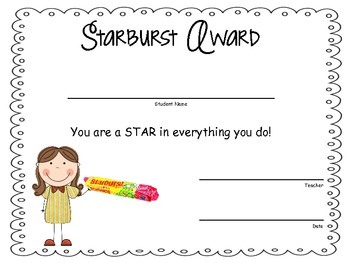 Classroom Candy Bar Awards