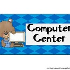 Classroom Center Signs (Bear Theme)