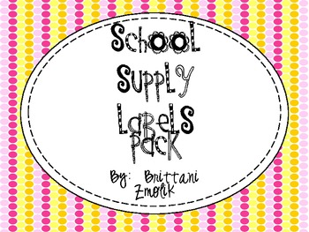 Classroom Chalkboard Supply Labels