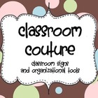 Classroom Couture 2: Chocolate polka dot organization and signs
