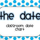 Classroom Date Chart, Months, Days, Ordinal Numbers (Polka Dots)