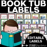 Classroom Decor - Book Tub Labels (Blue, Green, Purple, & Pink)