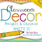 Classroom Decor Mega Bundle: Brights and Chevron 2 WHITE {