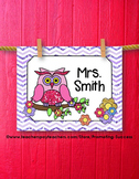 Christmas Gift Personalized Teacher Name Sign Owl Chevron