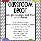 Classroom Decor- Red, Blue, Yellow, Green