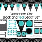 Classroom Decor Set~ EDITABLE~Black and Teal~ Desk Plates,