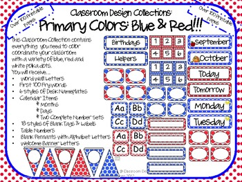 Classroom Design Collections: Blue and Red Polka Dots
