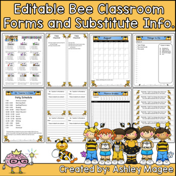 Classroom Forms and Substitute Information - Bumble Bee themed
