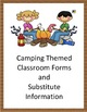 Classroom Forms and Substitute Information - Camping themed