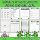 Classroom Forms and Substitute Information - Frog Theme