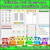 Classroom Forms and Substitute Information Pages - Owl Themed