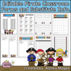 Classroom Forms and Substitute Information - Pirate Theme