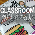 Classroom Gift Cards [prizes that won't cost you a dime!]