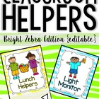 Classroom Helpers Kit for a Class Jobs Board Zebra Print Theme
