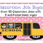 Classroom Job Signs Pink Polka Dots