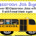 Classroom Job Signs Yellow Polka Dots