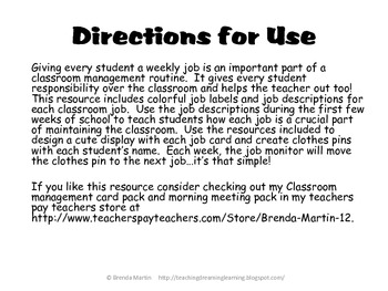 Classroom Jobs for Back to School