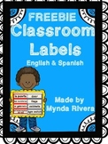 Classroom Labels (English & Spanish)