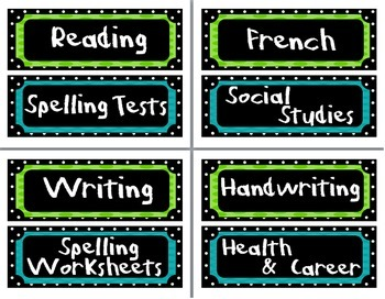 Classroom Labels - Green, Blue, and Black