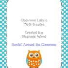 Classroom Labels-Math Supplies-Aqua