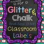 Classroom Labels (Small) Glitter & Chalk Design PDF Format