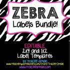 Classroom Labels You Can Edit: Zebra Bundle {1x2 & 2x4}