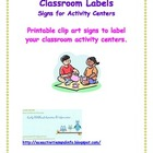 Classroom Labels for Activity Centers