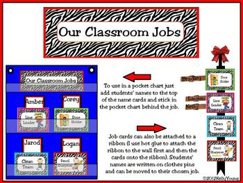 Classroom Leaders Job Cards Zebra Print