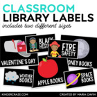 Classroom Library Labels EDITABLE fo Bins & Books {Black Series)r