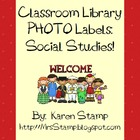 Classroom Library PHOTO Labels:  Social Studies!  FREE!