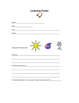 Classroom Listening Center - Response Form