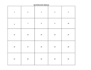 Classroom Management Bathroom Break Chart