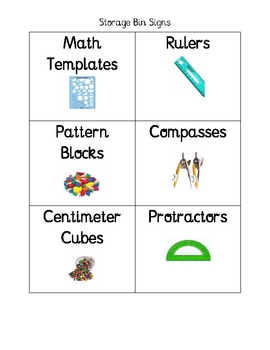 Classroom Management Storage Bin Labels
