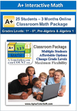Classroom Math Package - Grade K1- Algebra 1 (25 Students,