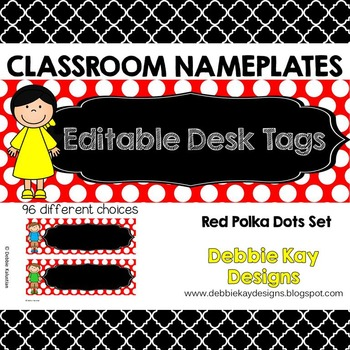 Classroom Nameplates (Editable Desk Tags) Red Polka Dot