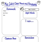 Classroom Newsletter &amp; Homework Note