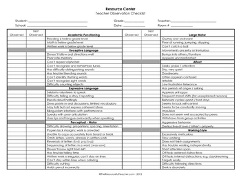 Classroom Observation Checklist 1 - Teacher or Administrator