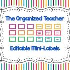 Classroom Organization Mini-Labels (Editable)