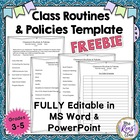 Classroom Policies and Routines Expectations Template  